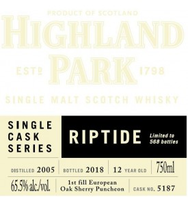 Highland Park Single Cask Series Riptide